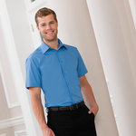 Cap Sleeve Polycotton Easycare Fitted Poplin Shirt