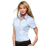 Corporate Pocket Oxford Blouse Short Sleeved Womens