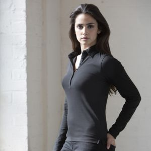Women's long sleeve stretch polo Thumbnail