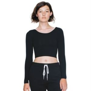 Long sleeve cotton Spandex Jersey crop top (8379) Thumbnail