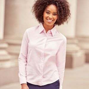 Russell Collection Ladies Long Sleeve Easy Care Oxford Shirt Thumbnail