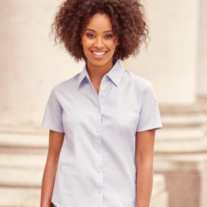 Russell Collection Ladies Short Sleeve Easy Care Oxford Shirt Thumbnail