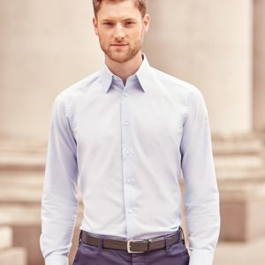 Russell Collection Long Sleeve Tailored Oxford Shirt Thumbnail