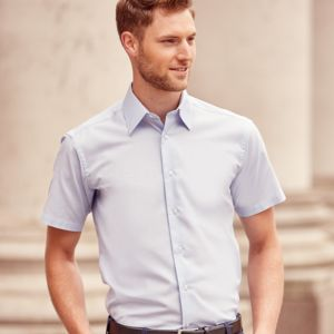 Russell Collection Short Sleeve Tailored Oxford Shirt Thumbnail